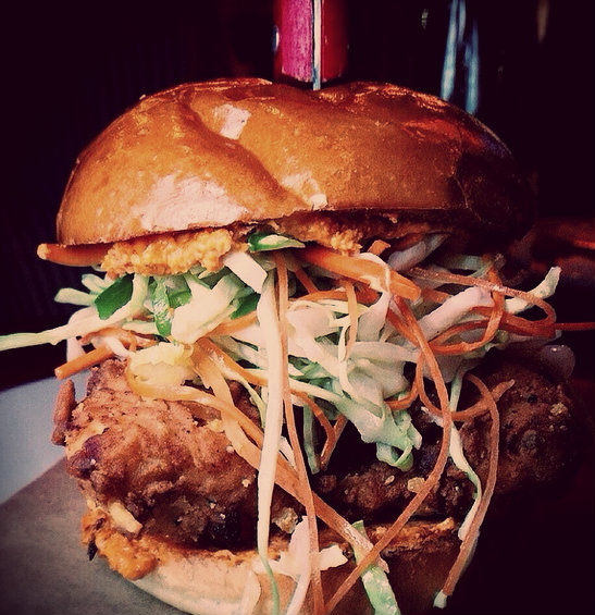 The Best Damn Chick'n Sandwich Ya Ever Had- Coleslaw, jalapeno, pimento cheese, toasted poppy seed bun