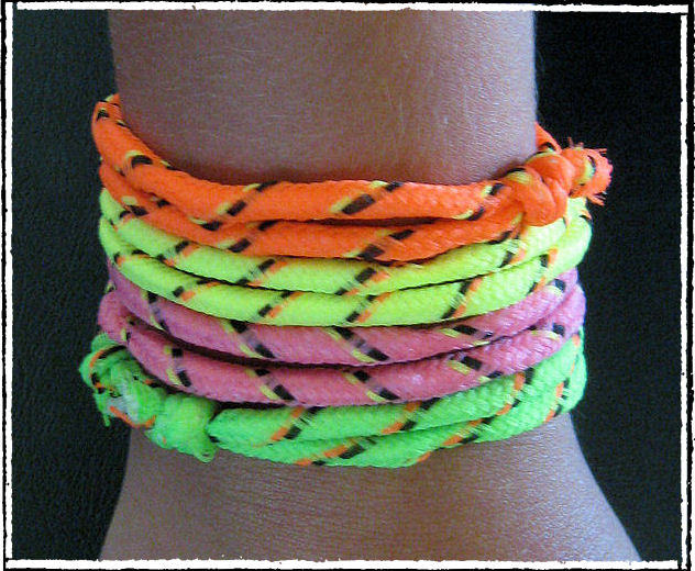 Neon Cord Bracelets: Sporty yet fashionable, and cheaply made, but somehow I still think these look cool. What is wrong with me?